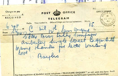A telegram sent to Lilian Simpson from 'Bayliss', 15th October 1941; Bayliss, D; 15/10/1941; 2017.11.28