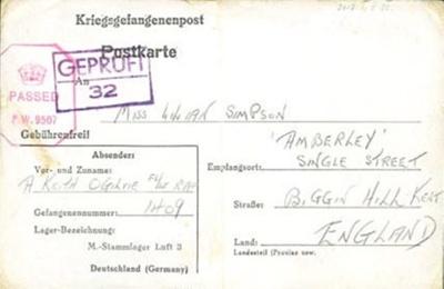 A POW postcard to Lilian Simpson from Keith Ogilvie, 29th November 1943.; Ogilvie, Keith; 29/11/1943; 2017.11.5.30