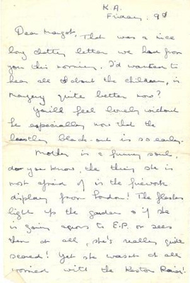 A letter, dated  'Friday 9th' from Olivia Archard to her sister Margot; Archard, Olivia; L001.2