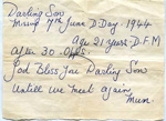 A note handwritten by Mrs Simpson about her son Harry going missing; Simpson, Mrs; 2017.11.24