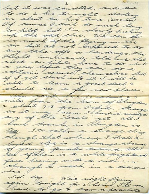 A letter sent to Lilian Simpson from Sgt Leslie Collins.   ; Collins, Leslie; 2017.11.39
