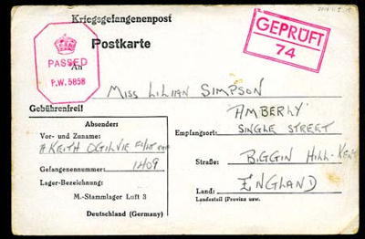 A POW postcard to Lilian Simpson from Keith Ogilvie, 15th June 1943; Ogilvie, Keith; 15/06/1943; 2017.11.5.15