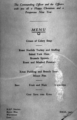 photo negative - Lunch menu, Christmas 1940; 1940; 2018.1.341