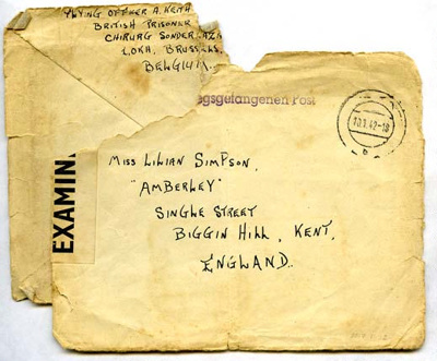 An envelope POW postcard addressed to Lilian Simpson from Keith Ogilvie, 10th January 1942.; Ogilvie, Keith; 10/01/1942; 2017.11.12