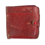 Red leather wallet belonging to Pilot Officer Peter Pool; 2017.29.2