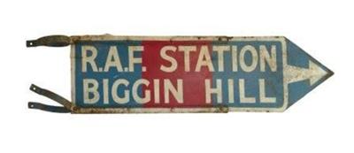 RAF Station Biggin Hill road sign; E074