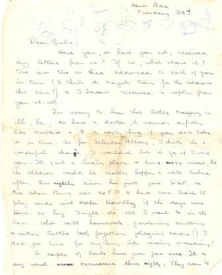 A letter dated 'Tuesday 29th' from Olivia Archard to 'Girls' (her sisters Margot and Le); Archard, Olivia; L001.5