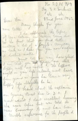 A letter to Harry Simpson from his best friend George; Dockrell, George; 22/06/1942; 2017.11.36