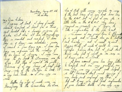 A letter to Lilian Simpson from Canadian pilot Keith Ogilvie, 27th May 1945.; Ogilvie, Keith; 27/05/1945; 2017.11.33