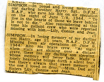 A newspaper clipping with 'in memory messages' for Harry Simpson after he and his crew went missing on 8th June, 1944.  ; 1944; 2017.11.56