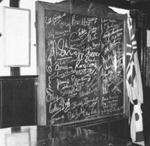 photo negative - The White Hart Blackout board; press photo; July 1959; 2018.1.568