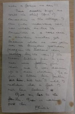 A page from a letter from Olivia Archard (date unknown), all other pages missing.; Archard, Olivia; 17/06/1944; L001.8
