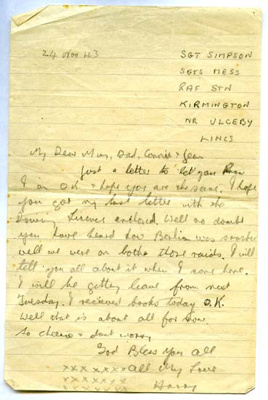 A letter from Harry Simpson to his family, 24th October 1943.   ; Simpson, Harry; 24/10/1943; 2017.11.53