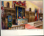 A coloured image of the interior of the original  St George's chapel of remembrance. ; Crossley, Leon S/Ldr; 2017.11.9