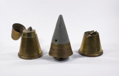 1 x 3.7 Anti-Aircraft Shell fuse and 2 x protective covers adapted into ashtray and cigarette lighter; L007.5