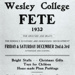 Flyer- Wesley College South Perth  College Fete 1932; 1932; 1932/2