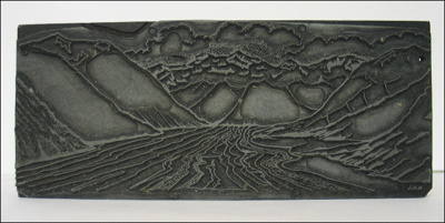 Print Block Depicting Mountains and a river.; N.M.A; 1960s; A.00177