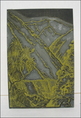 Print Block Depicting Mountains; N.M.A; 1960s; A.00179