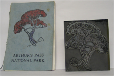 Metal Print Block with the image of a tree.; Arthur's Pass National Park; 1960s; A.00150