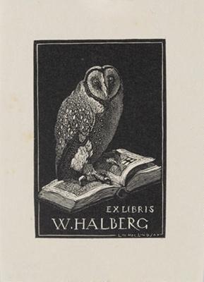 Bookplate of W Halberg; Lionel Lindsay (b.1874, d.1961); 1933; 2017.382