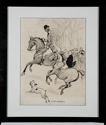 Riding in Rotten Row, Hyde Park.; Lionel Lindsay (b.1874, d.1961); 2017.18