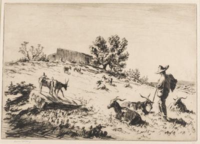 A Sicilian Goatherd near Syracuse; Lionel Lindsay (b.1874, d.1961); 1927; 2016.54