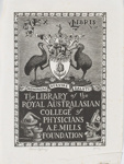 Bookplate for  The Library of the Royal Australasian College of Physicians A.E.Mills Foundation; Lionel Lindsay (b.1874, d.1961); 1942; 2017.386