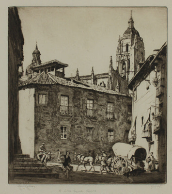 A little square, Segovia; Lionel Lindsay (b.1874, d.1961); 1927; 2016.50