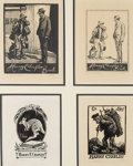 4 x Harry Chaplin bookplates; Lionel Lindsay (b.1874, d.1961); 2016.202