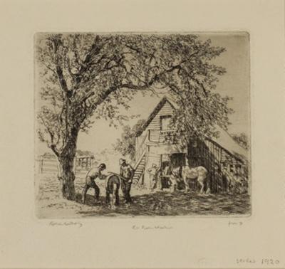 The Old Barn, Windsor, N.S.W (Barn, Windsor; Dilapidated Barn, ...); Lionel Lindsay (b.1874, d.1961); 1920; 2016.35