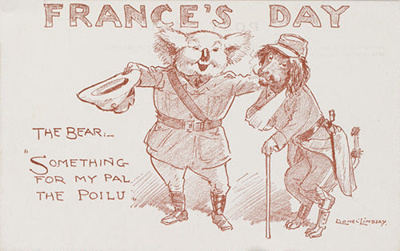 France's Day. The Bear: Something for my pal the Poilu; Lionel Lindsay (b.1874, d.1961); 1914-1918; 2017.387