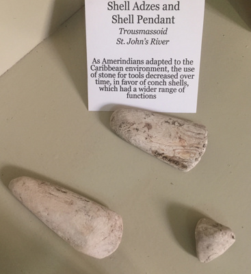Shell Adzes and Shell Pendant - Amerindians; Grenada