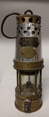 Naylor Marsaut miner's safety lamp with double bifold burner, c. 1900. Produced  by J H Naylor Ltd of Wigan.; J H Naylor; 1900; GCM.001.003
