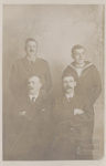 Four men - one in naval/one in army officers uniform; ULMPH 2000 0166