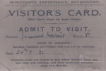 Northern infirmary inverness visitor's card; 1926; ULMPH 2000 0555
