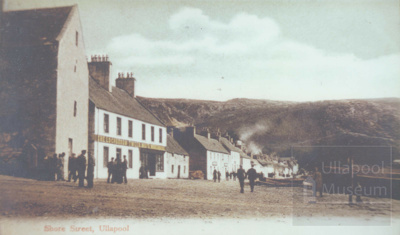 View of Shore Street from the pier head - shows Lochbroom Tweed Mill.; 1910?; ULMPH 2000 0381
