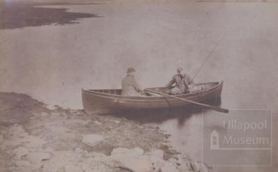 2 men in rowing boat with fishing rod; ULMPH 2000 0334
