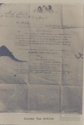 Income Tax Notice Ullapool; 1800?; ULMPH 2000 0552