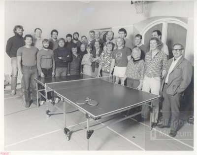 Locals versus Eastern Europeans at table tennis; 1980?; ULMPH 2000 0352