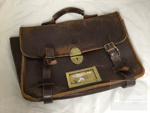 Ministerial briefcase from WW2 (circa 1945) with key ; ULM 2001 007 a and b