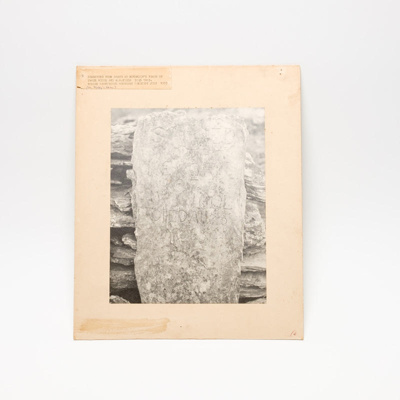 Mounted photograph, headstone; unknown; ?; RX.2018.182.1