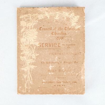 Council of the Christian Churches Church Service; 24.03.1900; RX.1998.40.6