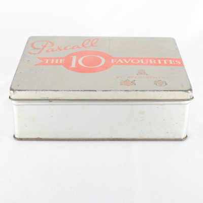 tin, sweets; Pascall; ?; RX.1997.28.1