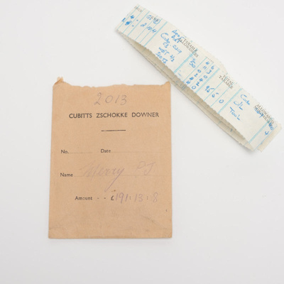 administration, payslip; Cubitts Zschokke Downer; 1953?; RX.2019.3.3