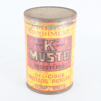 can, mustard pickles; S. Kirkpatrick & Co Limited; 1900?; RX.1997.34