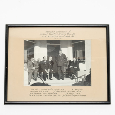 Framed photograph, Teviot Electric Board Opening Ceremony; unknown; 1958; RX.2018.180.3