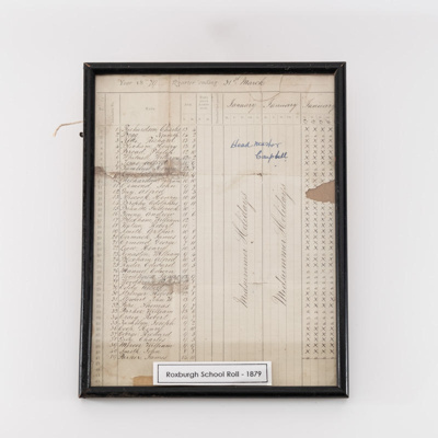 Document, Roxburgh School Roll 1879; unknown maker; 1878?; RX.2018.89.2
