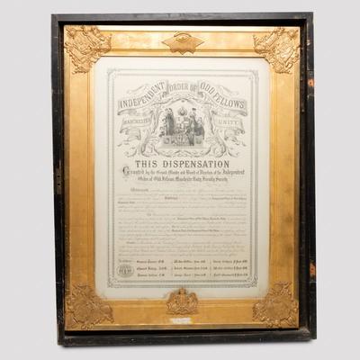 Certificate, Loyal Roxburgh Lodge Dispensation; unknown maker; 1869; RX.1998.21.2