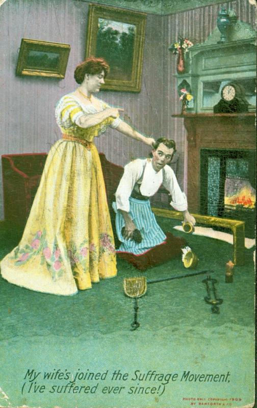 """Postcard: """"My wife's joined the Suffrage Movement"""" (2010.49)"""