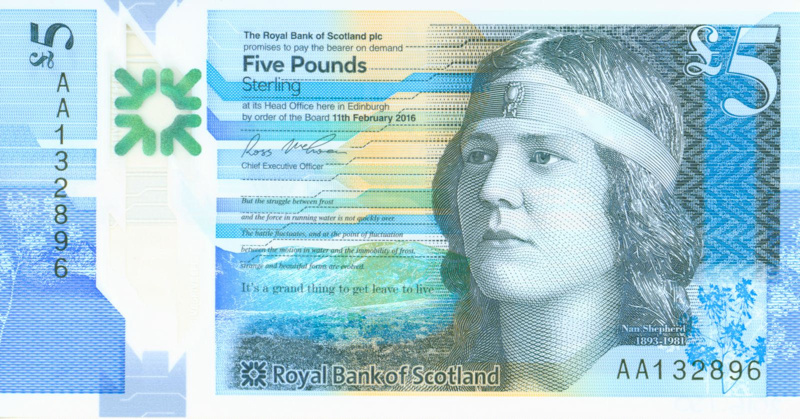 Royal Bank of Scotland £5 note featuring Nan Shepherd